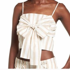 NWT J.O.A. Tie-Front Crop Top Tan/White Medium